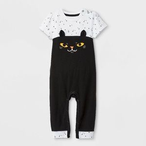 Baby Girls' Cat Short Sleeve Romper black/white